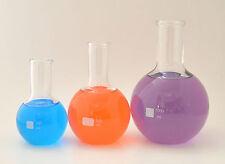 FLAT BOTTOM LONG NECK BOILING FLASKS VASES 250 500 1000mL BOROSILICATE GLASS NEW