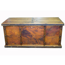 Laguna Real Copper Desk with 3 Copper Panels Rustic Western Real Wood Cabin