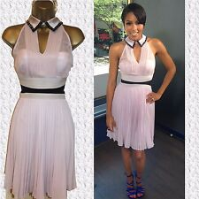 KAREN MILLEN DQ278 Pale Pink Pleated Beaded Collar Cocktail Party Dress UK 12