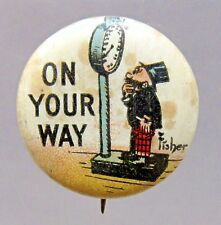 1910 Bud Fisher MUTT & JEFF On Your Way Hassan Cigarettes pinback button *
