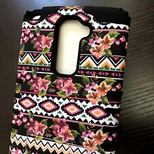 LG G Stylo 2 Plus MS550 HARD & SOFT RUBBER HYBRID CASE COVER PINK AZTEC FLOWER