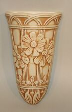 Weller Pottery Ivory 8 Inch Wall Pocket with Embossed Daisy Flowers (AS IS)