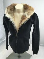 RARE Juicy Couture Women's Small GENUINE RABBIT FUR Lined Black Hoodie USA
