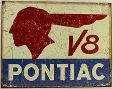 PONTIAC V8 LOGO METAL SIGN Indian Head Car Automobile Motors NEW Tin Retro Repro