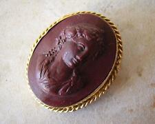 EARLY VICTORIAN GRAND TOUR OX BLOOD LAVA CAMEO BROOCH PIN classical noble maiden