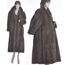 LKNW! L! Finest Female Sable Brown Mink Ruffled, Pleated Tiered Swing Coat