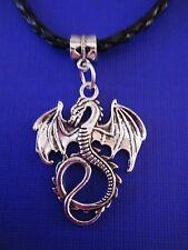 """FREE GIFT **ANTIQUED SILVER PENDANT With 18"""" LEATHER NECKLACE Large Dragon #1"""