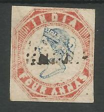 INDIA SG19 THE 1854 QV 4a BLUE AND RED HEAD DIE II,FRAME DIE 1 FINE USED C.£700