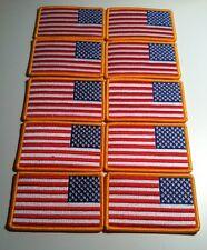 10 USA Flag  LEFT  Iron On Patch  Shoulder Emblem Gold Border