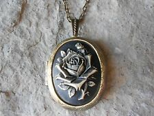 BLACK ROSE (HAND PAINTED) CAMEO LOCKET -ANTIQUE BRONZE, VINTAGE LOOK, QUALITY