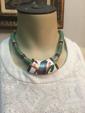 Vintage Japanese Faux Jade Lucite Retro 80's Necklace Made in Japan
