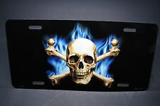 SKULL AND CROSSBONES METAL ALUMINUM CAR LICENSE PLATE TAG