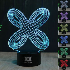 Abstract 3D LED illusion Night Light 7 Colorful Touch Switch Table Desk Lamp