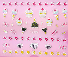 Ice-Cream Lolly Cup Cakes Candy Flowers 3D Nail Art Stickers Decals UV Manicure