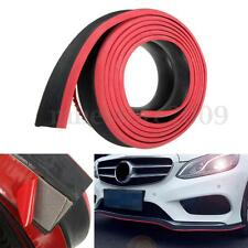 98''x2'' Black + Red Front Bumper Lip Splitter Body Spoiler Protector Rubber New