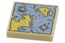 LEGO Tile 2x2 Map with Red 'X' Blue Yellow Pattern Brick Bounty Pirates Treasure