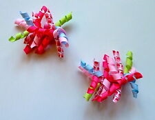 Gymboree Hair Clips x 2 - Pink, Green, Blue, White with Cupcakes - New