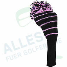 Klassische Schlägerhaube aus Strickgarn schwarz mit pinkfarbenen Streifen, neu