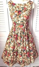 LINDY BOP Amazing 50s Vintage Style Floral Flared Retro Jive Dress UK 8 EU 36