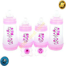 Mam Baby Feeding Gift Set Girl Anit Colic Bottles And Silicone Pacif Brand New