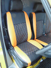 MERCEDES SPRINTER VAN 2009 SEAT COVERS CROSS STITCH ORANGE - FULL LEATHERETTE