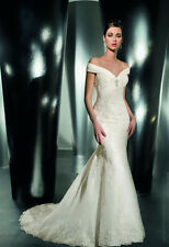 New Off-the-shoulder V Neck Applique Lace Wedding Dresses Bridal Gown Custom