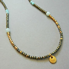 U&C Sundance Pyrite, Amazonite, Gold Vermeil Coin Drop Over .925 Silver Necklace