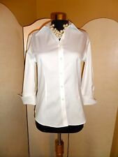Brooks Brothers Non-Iron Fitted 3/4 Sleeve French Cuff Stretch Shirt White Sz 0