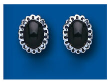 Sterling Silver Real Onyx Fancy Stud Earrings