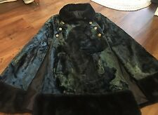 Vtg Women's Dark Green Crushed Velvet Fur Collar Cape Dress Coat Union Made Bx48