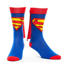 Superman DC Comics Licensed Unisex Costume Crew Cut Socks with Cape Attached