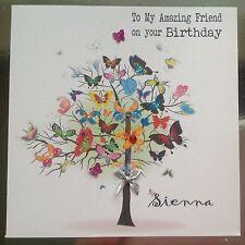 PERSONALISED Handmade BIRTHDAY CARD Sister Freind Mum Wife Gran Butterfly Tree