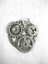 NEW STEAMPUNK GEAR ART SOLID CAST USA PEWTER PENDANT ON ADJUSTABLE CORD NECKLACE