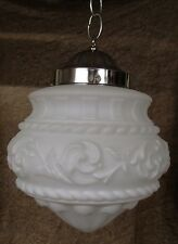 Decorated Deco Style Hanging Ceiling Lamp Light Decorated Frost Milk Glass Shade