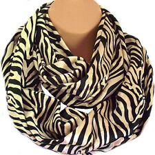 Luxury Mink Gold & Black Animal Print Scarf Circle Loop Infinity Snood - Gift