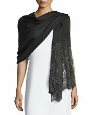 VALENTINO Golden Flower Lace Trim Black Silk Cashmere Fringe Wrap Scarf Shawl