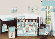 Sweet Jojo Designs Turquoise Chevron Print Jungle Baby Girl Boy Crib Bedding Set