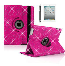 360 Degrees Rotating Bling SPARKLY Leather Case Cover for ipad 4 3 2
