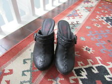 HIGH HEELS T-REDS BLACK WEDGE LEATHER CLOGS MULES SIZE 3