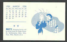 DATE 1936 NORTHAMPTON MA & NY MACYS CALENDAR & BLOTTER MINT HAS CREASE IN CENTER