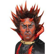 Mens Devil Punky Wig Red Black Spiky Demon Fancy Dress Satan Halloween Scary Fun