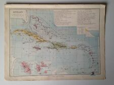 The Antilles, Cuba, Jamaica, 1882 Antique Map, Eugene Belin, French Atlas