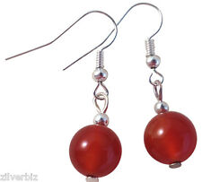 Carnelian 10mm Round Bead Earrings Silver Colour Nickelfree Hooks Natural Stones