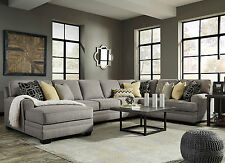 MAYFIELD-Large Gray Microfiber Living Room Sofa Couch Chaise-4pcs Sectional Set