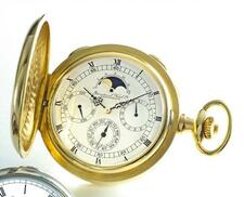IWC   A FINE YELLOW GOLDPERPETUAL CALENDAR HUNTING CASED WATCH WITH MOON PHA...