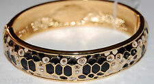 NWT Guess Gold-tone Serpent Pattern Hinged Pave Accents Bracelet-Exclusive Line
