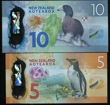 NEW ZEALAND $5 & $10 DOLLARS POLYMER UNCIRCULATED BANKNOTES,1 SET 2 PIECES
