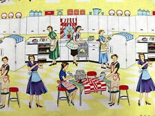 Michael Miller HOME EC Retro 1950 Vintage Kitchen Fabric by the YARD Yellow NEW