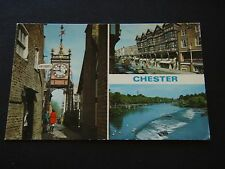 CHESTER THE CLOCK BRIDGE STREET ROWS RIVER DEE POSTCARD