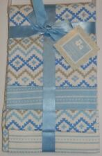 New Cribmates Blue White Diamond Geo Baby Boy 4 Pk Flannel Receiving Blankets